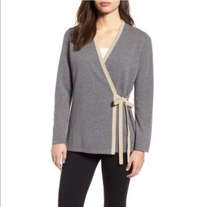 Eileen Fisher Grey Cashmere Wrap Sweater Large